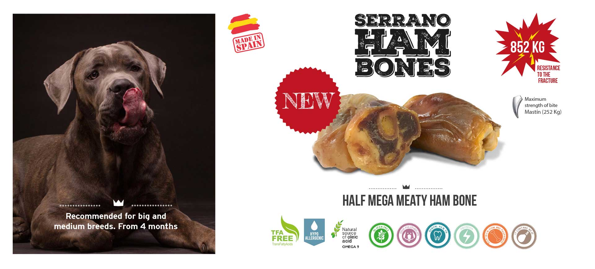 Slider web half mega meaty ham bone Mediterranean Natural for dogs