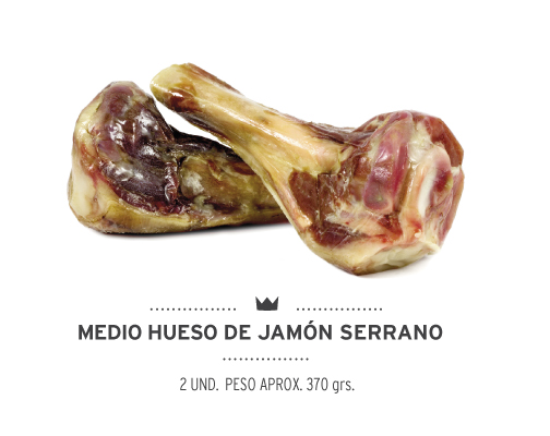 Dos unidades de medio hueso de jamón serrano para perros. Two units of half ham bone for dogs.