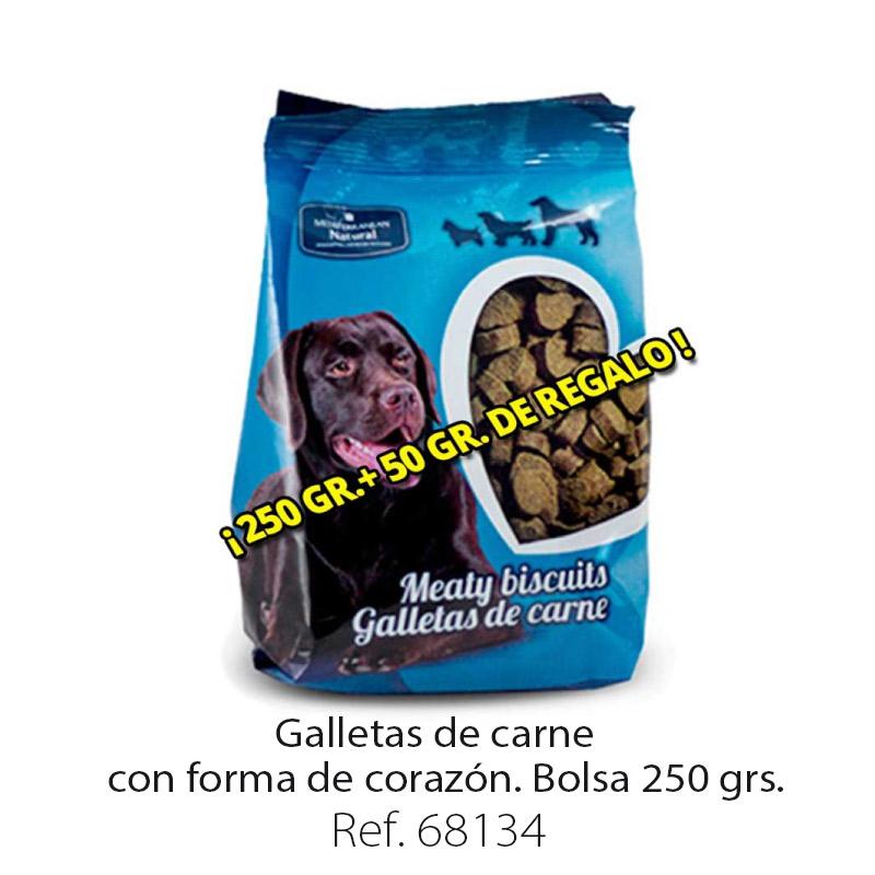 Galletas de carne para perros forma corazón bolsa 250 gramos