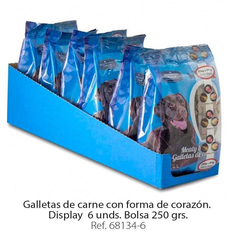 Galletas de carne para perros forma corazón display 6 bolsas 250 gramos