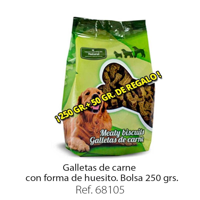 Galletas de carne para perros forma huesito bolsa 250 gramos