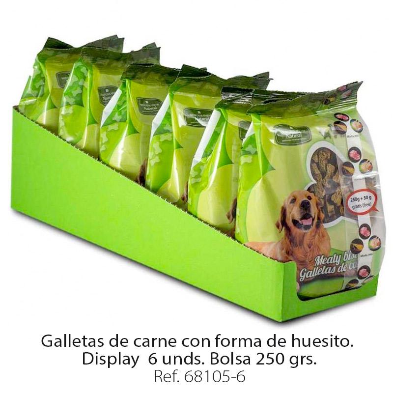 Galletas de carne para perros forma huesito display 6 bolsas 250 gramos