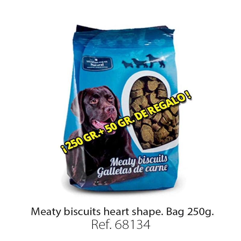 Meaty biscuits for dogs heart shape bag 250 g
