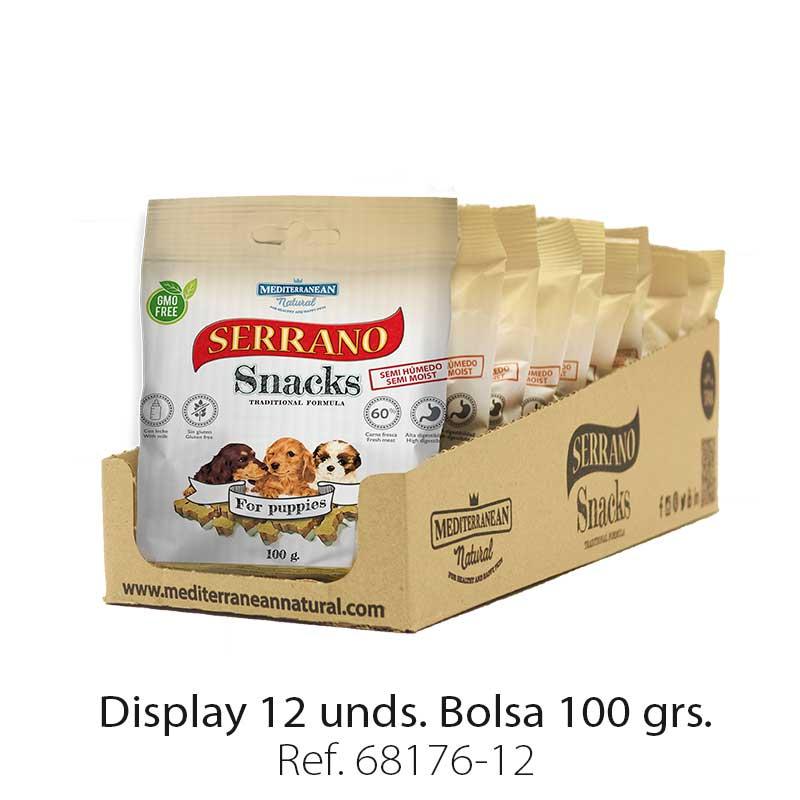 Serrano Snacks de Mediterranean Natural para cachorros display 12 unidades