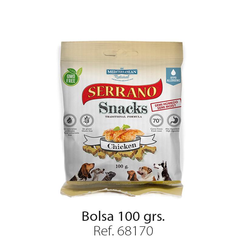 Serrano Snacks de Mediterranean Natural pollo bolsa 100 gramos