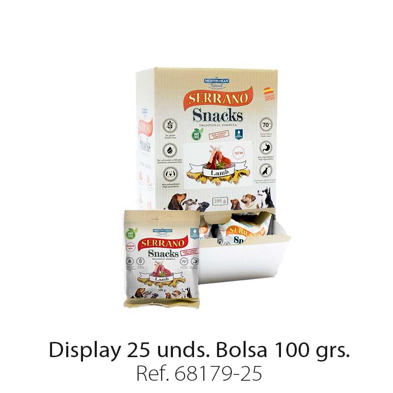 Serrano Snacks de Mediterranean Natural cordero. Display 25 unidades
