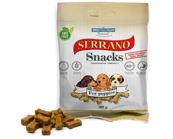 Serrano Snacks de Mediterranean Natural bolsita cachorros-for puppies