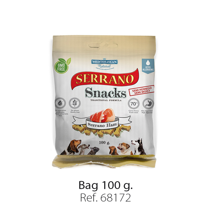 Serrano Snacks of Mediterranean Natural ham bag 100 gr