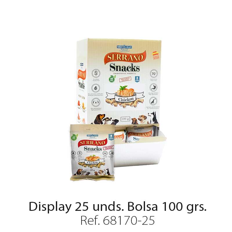 Serrano Snacks de Mediterranean Natural pollo display de 25 unidades