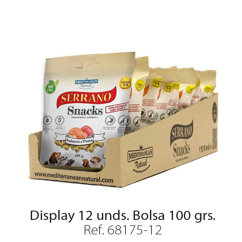 Serrano Snacks de Mediterranean Natural salmón y atún (pescado) display de 12 unidades