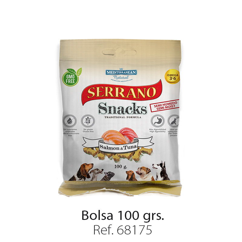 Serrano Snacks de Mediterranean Natural salmón y atún (pescado) bolsa 100 gramos