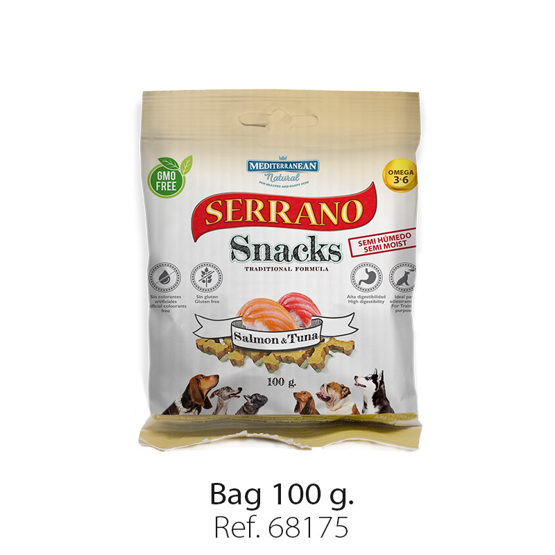 Serrano Snacks of Mediterranean Natural salmon and tuna fish bag 100 gr