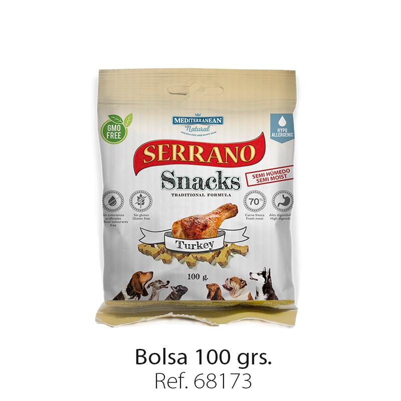 Serrano Snacks de Mediterranean Natural pavo bolsa 100 gramos