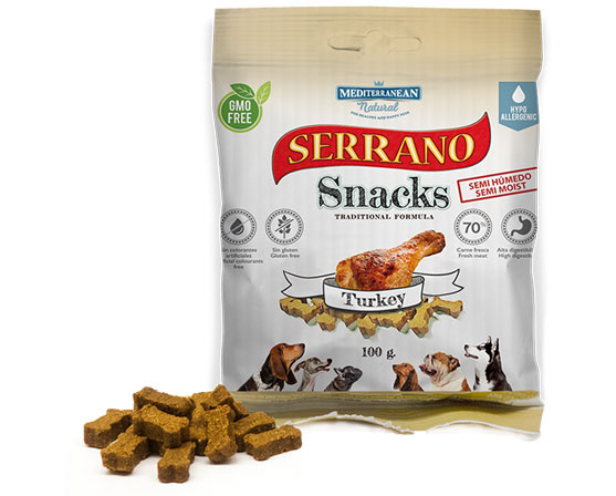 Serrano Snacks de Mediterranean Natural bolsita pavo-turkey