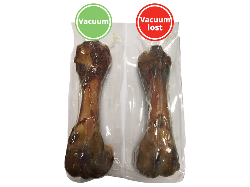 What to do if the Serrano ham bone packaging loses the vacuum? How do I have to proceed?