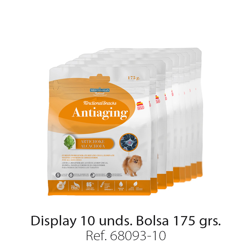 Display 10 unidades Functional Snacks Mediterranean Natural para perros antiedad