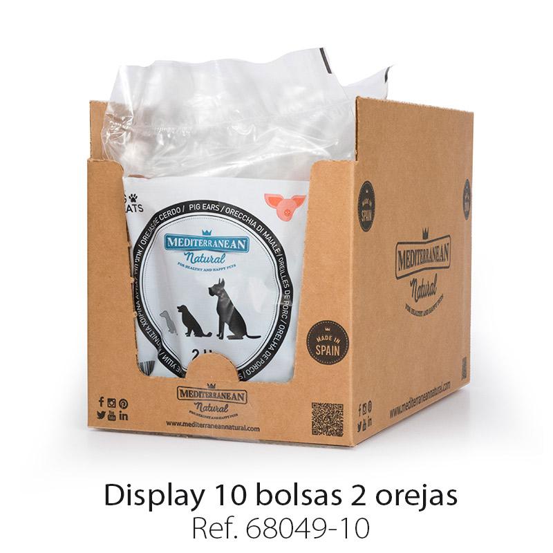 Display 10 bolsas de 2 orejas de cerdo para perros