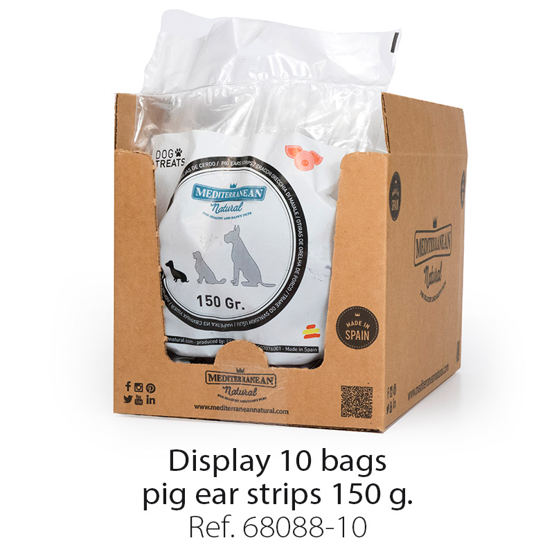 Pig ears for dogs. Display 10 bags 150 gr