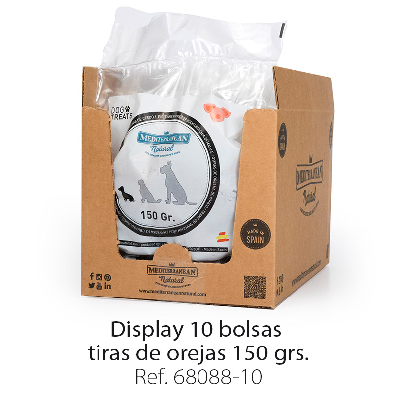 Display 10 bolsas de tiras de oreja para perros 150 gramos