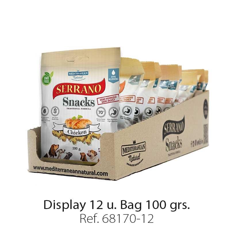 Serrano Snacks of Mediterranean Natural for chicken flavor. Display 12 units