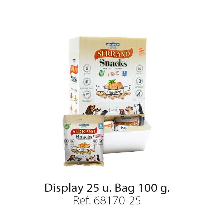 Serrano Snacks of Mediterranean Natural for chicken flavor. Display 25 units