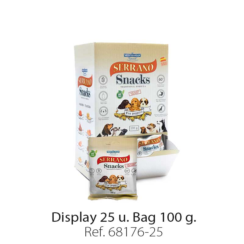 Serrano Snacks of Mediterranean Natural for puppies flavor. Display 25 units