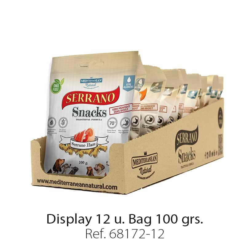 Serrano Snacks of Mediterranean Natural ham flavor. Display 12 units