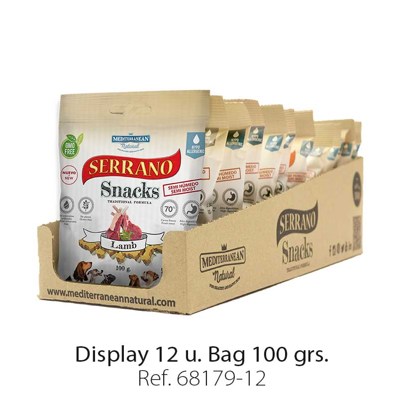 Serrano Snacks of Mediterranean Natural lamb flavor. Display 12 units