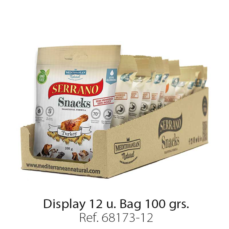 Serrano Snacks of Mediterranean Natural turkey flavor. Display 12 units