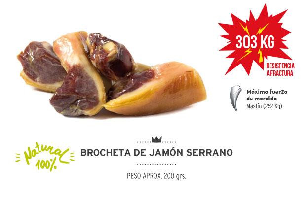 Brocheta de jamón serrano Mediterranean Natural para perros. Resistencia a la fractura