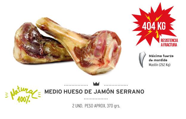 Medio hueso de jamón serrano Mediterranean Natural para perros. Resistencia a la fractura