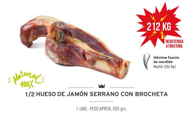 Medio hueso de jamón serrano con brocheta Mediterranean Natural para perros. Resistencia fractura