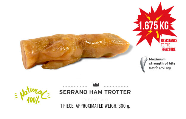 Serrano ham trotter of Mediterranean Natural for dogs. Resistance fracture