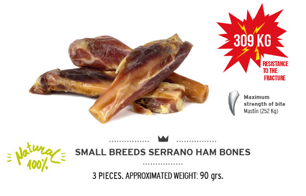 Serrano mini ham bone of Mediterranean Natural for dogs. Resistance fracture