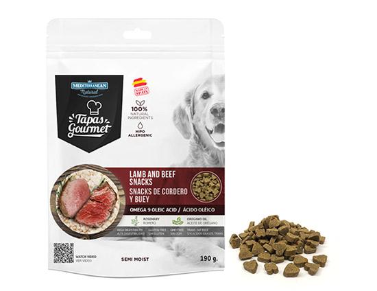 Snacks de Mediterranean Natural para perros semi húmedos de cordero y buey