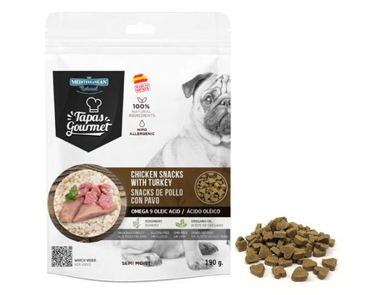 Snacks de Mediterranean Natural para perros semi húmedos de pollo y pavo
