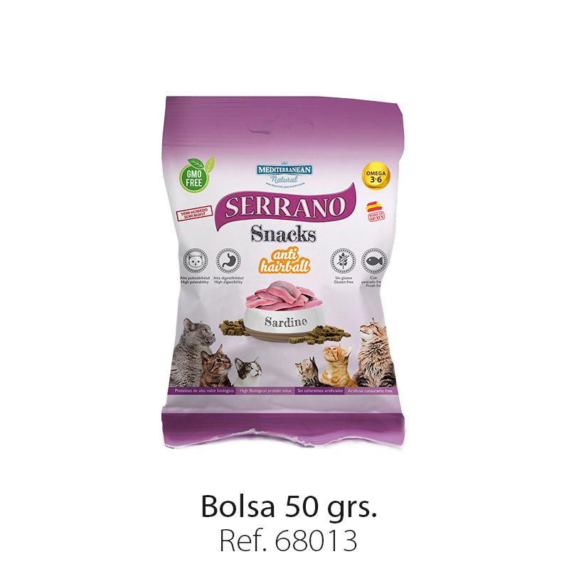 Serrano Snacks para gatos de Mediterranean Natural: premios anti bolas de pelo con sardina