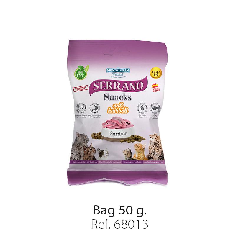 Serrano Snacks for cats of Mediterranean Natural antihairball sardine