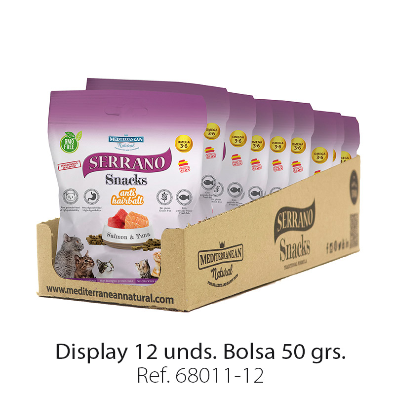 Serrano Snacks para gatos de salmón y atún Mediterranean Natural: Display 12 bolsas