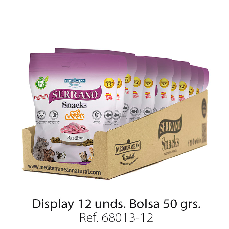 Serrano Snacks para gatos de sardina Mediterranean Natural: Display 12 bolsas