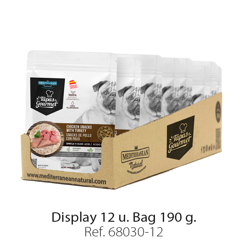 Display 12 bags Tapas Gourmet Mediterranean Natural for dogs chicken and turkey