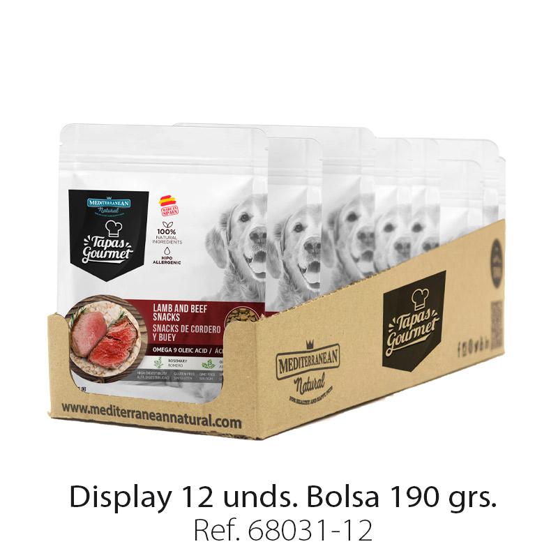 Display 12 bolsas de Tapas Gourmet de Mediterranean Natural para perros buey y cordero