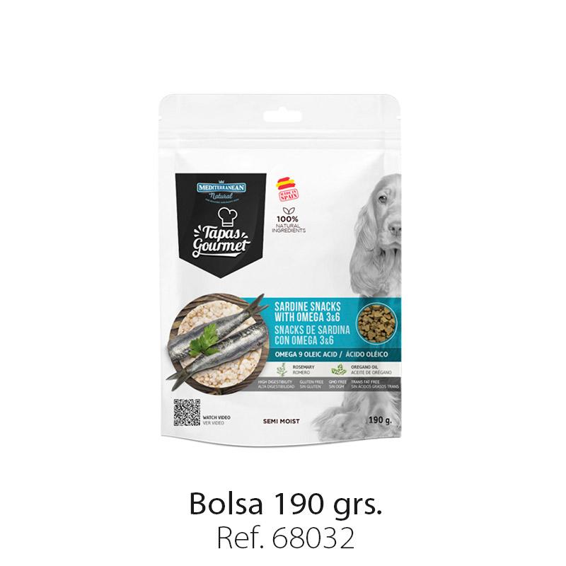 Tapas Gourmet de Mediterranean Natural para perros sardina