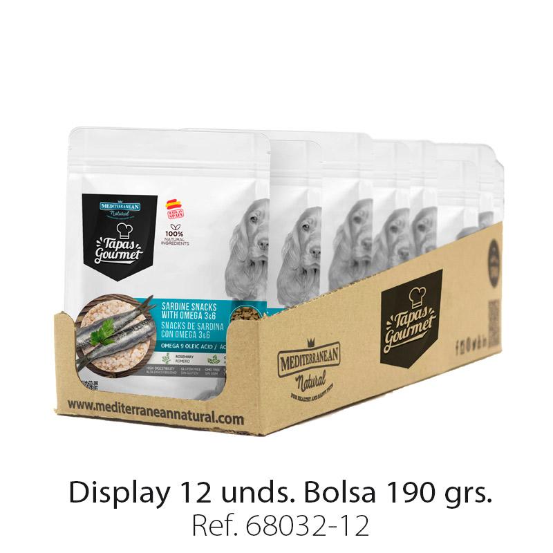 Display 12 bolsas de Tapas Gourmet de Mediterranean Natural para perros sardina