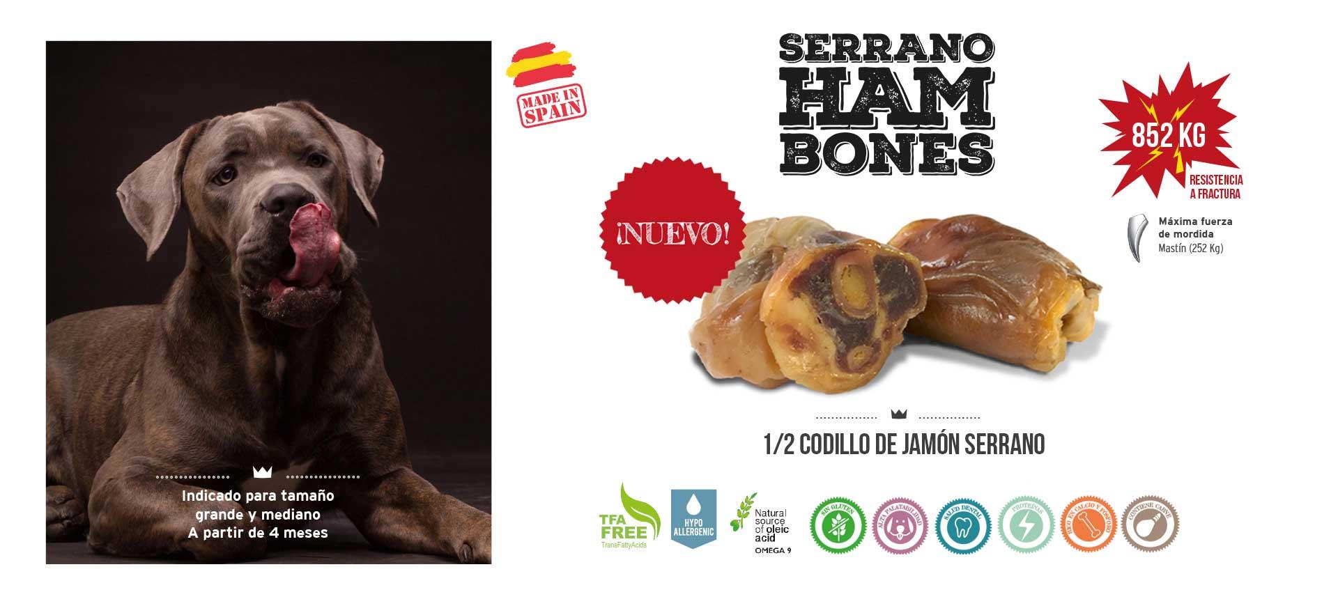 Slider 1/2 codillo de jamón serrano para perros Mediterranean Natural