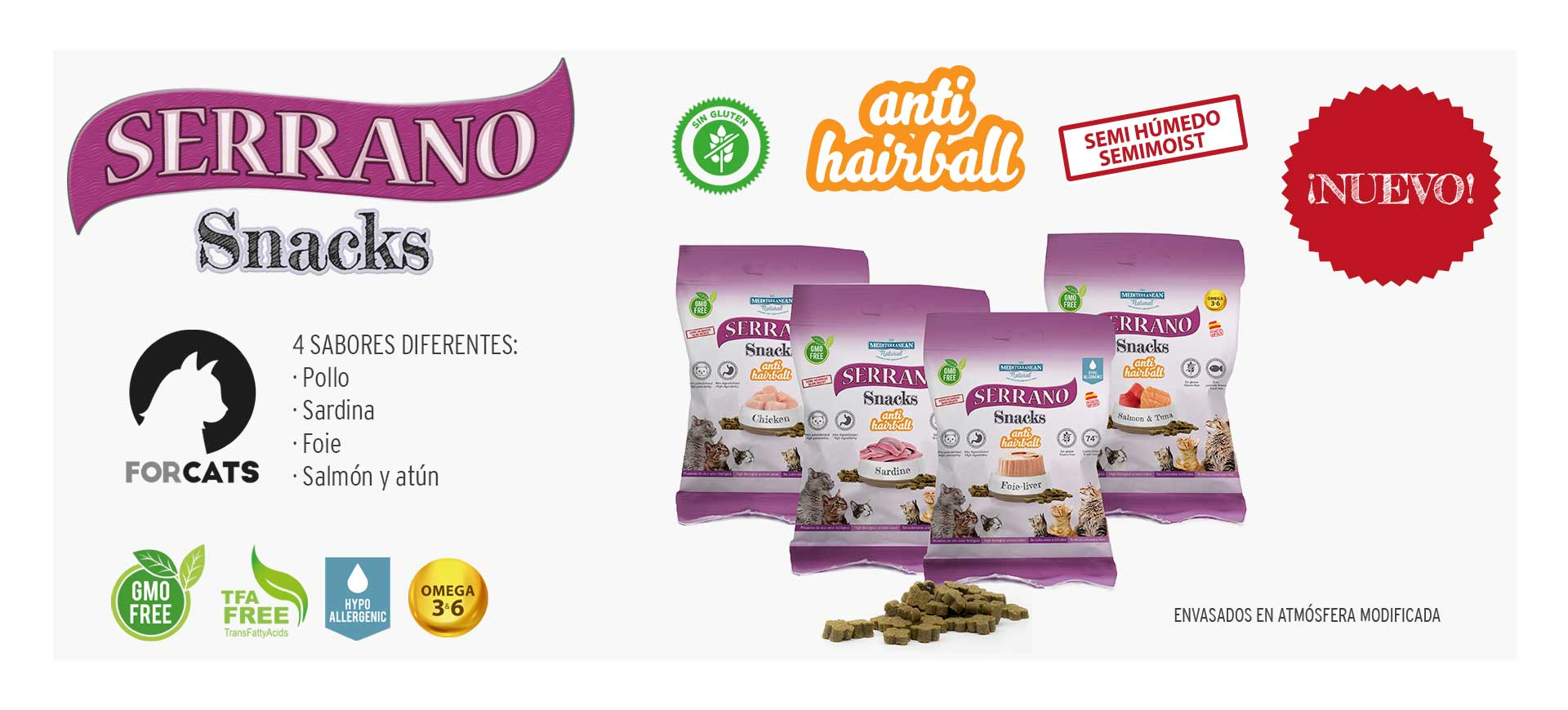 Serrano Snacks Mediterranean Natural para gatos