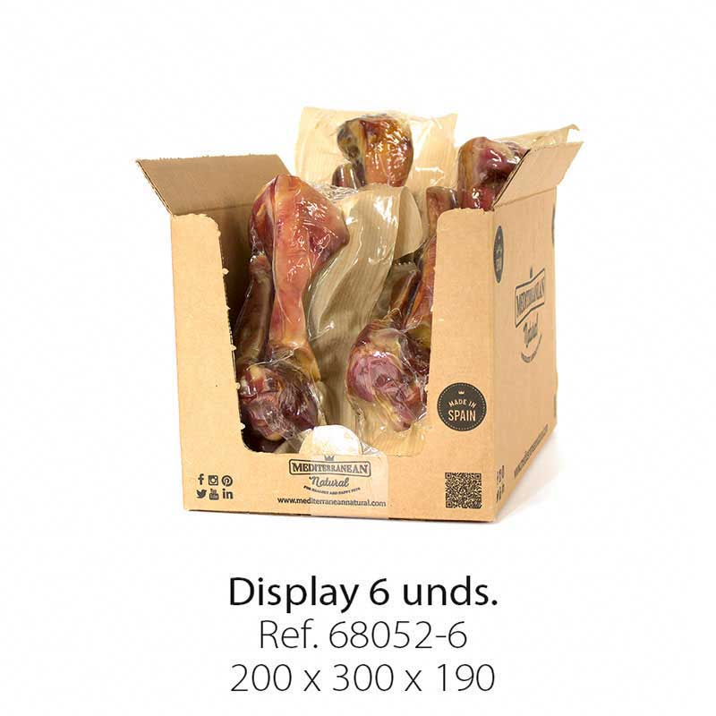 Display 6 unidades medio hueso de jamón serrano Mediterranean Natural para perros