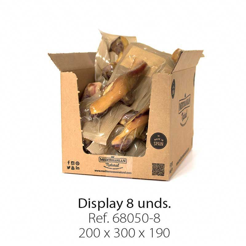 Display 8 unidades medio hueso de jamón serrano con brocheta Mediterranean Natural para perros