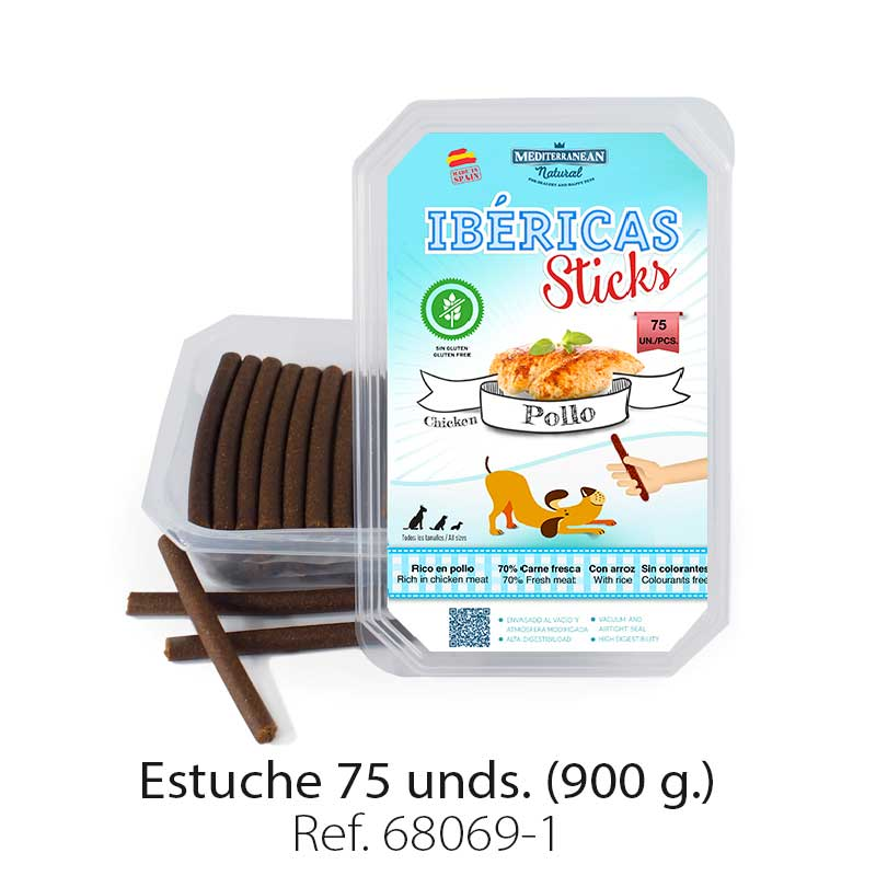 Barritas (ibéricas sticks) de pollo para perros. Chicken sticks for dogs.