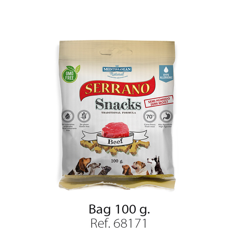 Serrano Snacks of Mediterranean Natural beef bag 100 gr